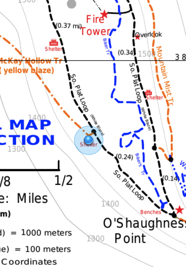 Screenshot of PDF Maps, showing geolocation dot exactly over shelter icon.