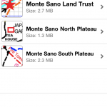 Screenshot of map list in PDF Maps.