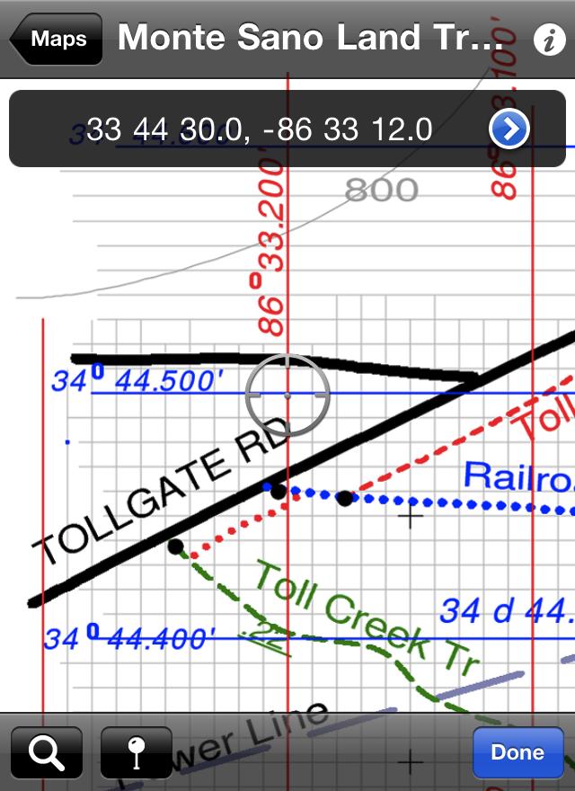 Screenshot of PDF Maps showing coordinate lookup tool.