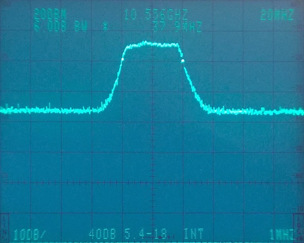 Bandwidth measurement on 4-section cavity filter tuned for 10556 MHz.